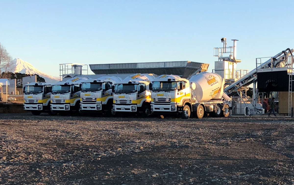 Taranaki Mix Concrete Trucks lined up